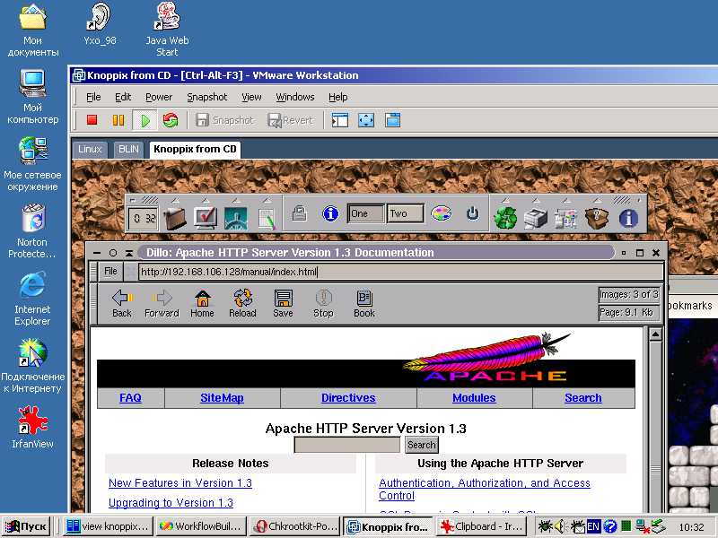 Dillo browser in Knoppix